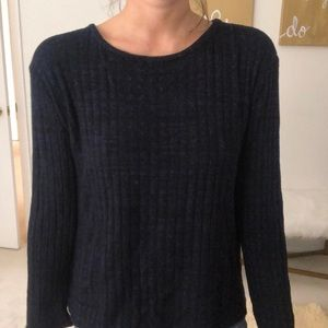 Monrow open back blue low v sweater